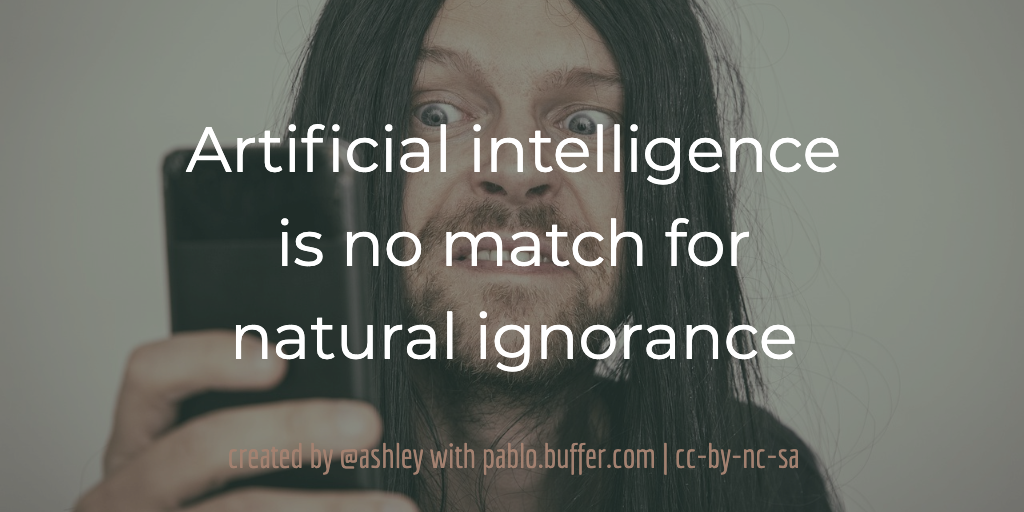 Artificial intelligence is no match for natural ignorance.