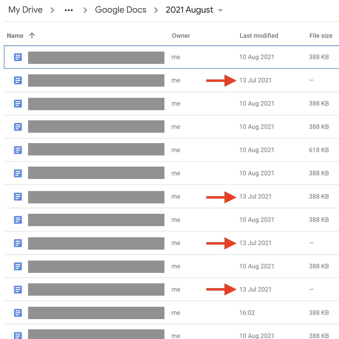 """Screenshot of Google Docs list in GDrive. The """"last modified"""" dates indicate if students have opened and edited their assigned documents."""